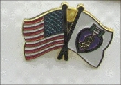 Purple Heart Crossed Flags Lapel Pin