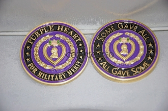 3D Purple Heart Military Merit Challenge Coin