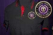 Purple Heart Black & Red Cotton Merit Polo