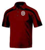 Red with Black Top Trim Poly Polo