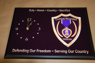 Purple Heart Clock Plaque