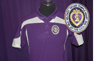 Purple & White Top Trim Poly Polo
