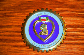 "Solid Brass 3"" 3D Purple Heart Car Badge"