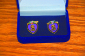 Solid Brass Purple Heart Cuff Link Set