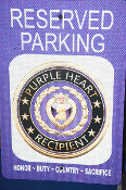 3D Purple Heart Recipient Reserved Parking Sign