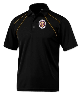 Black/Gold Dual Line Polyester Polo Shirt
