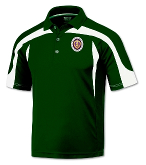 Green with White Top Trim Poly Polo