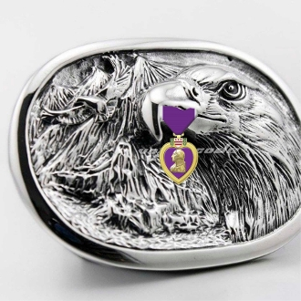Purple Heart American Eagle Belt Buckle
