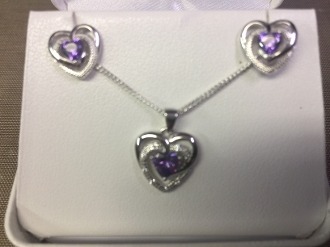 Ladies Purple Heart Sterling Silver Necklace and Earring Set
