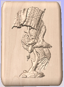 3D Carved Eagle Carrying the US Flag